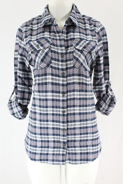 CLOTHING OF AMERICA ROLLED UP FLANNEL PLAID SHIRT*TWO COLORS