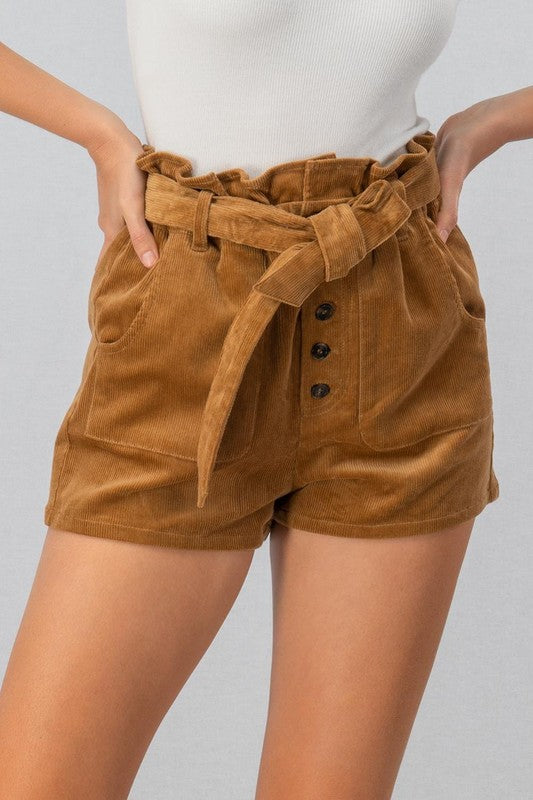 TREND:NOTES CORD SHORTS RIB BELT*TWO COLORS