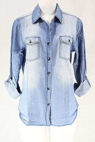 CLOTHING OF AMERICA ROLLED UP LIGHT WASHED DENIM SHIRT