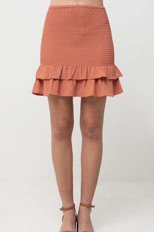 TREND SHOP TEXTURED DOUBLEBL LAYER SKIRT