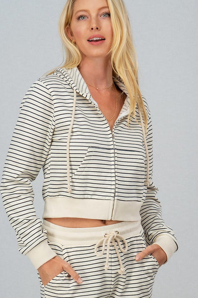 TREND NOTES FRENCH ZIP UP HOODIE*TWO COLORS