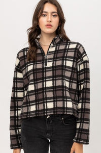 UPMOST PLAID SHERPA PULLOVER