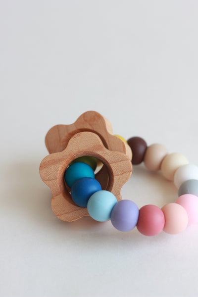 POPPY Silicone Teether + Rattle // Customize - The Baby Niche