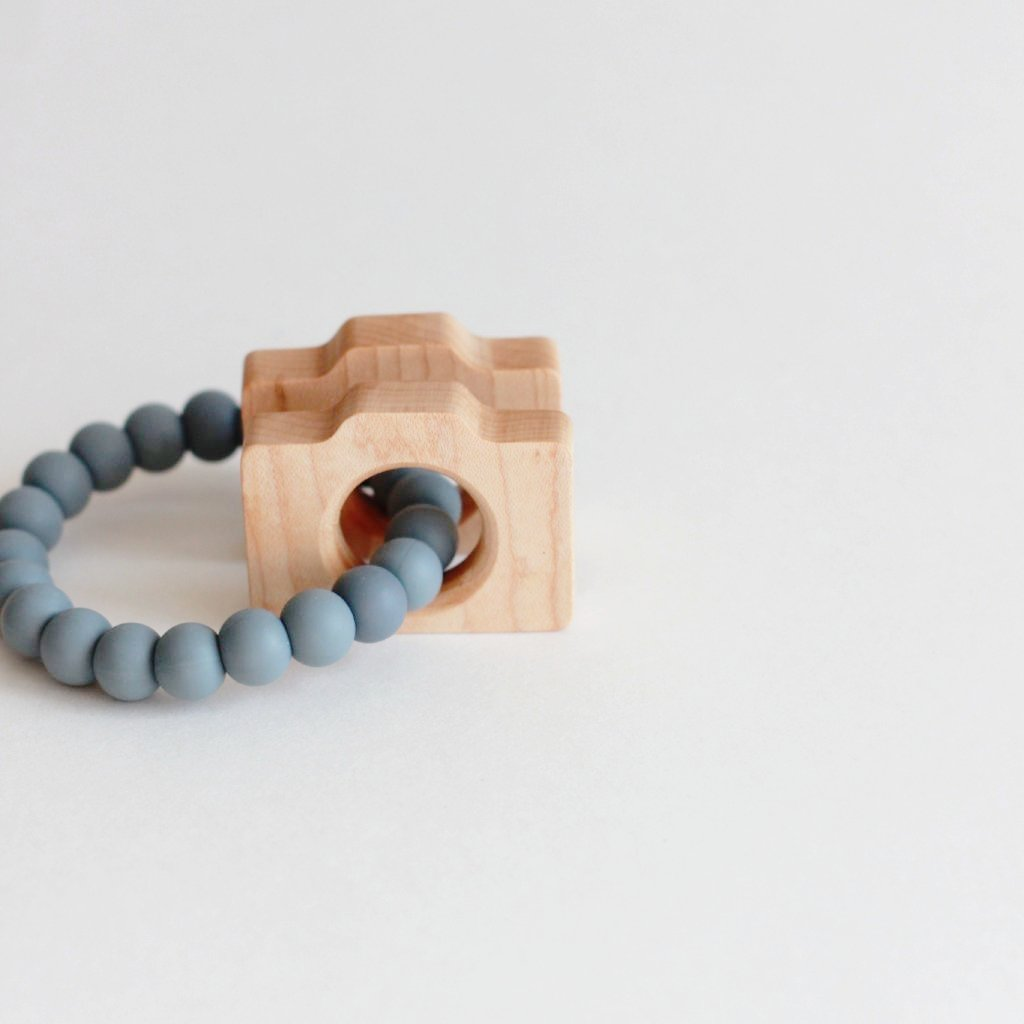 CAMERA Silicone Teether + Rattle // Customize - The Baby Niche