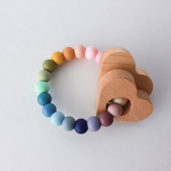 HEART Silicone Teether + Rattle