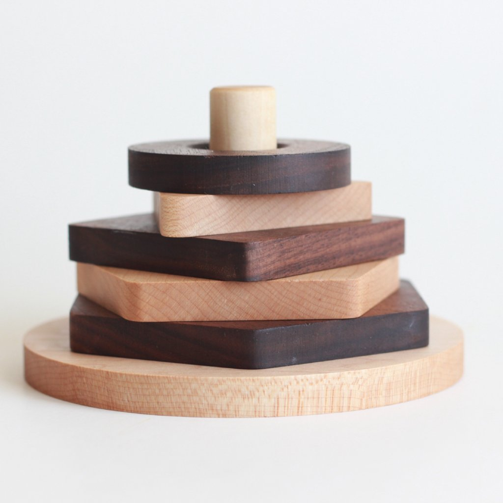 Ministackers // Maple + Walnut shape toys - The Baby Niche