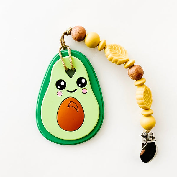 AVOCADO Silicone teether - dishwasher + freezer safe