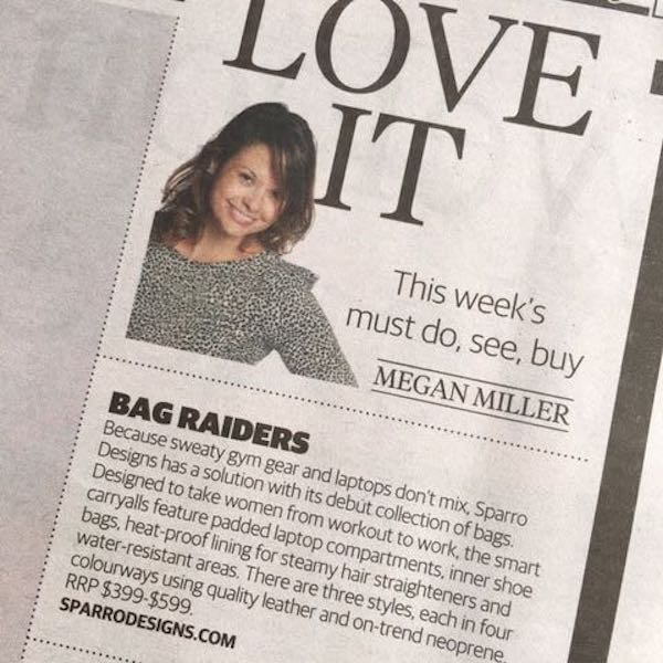 Herald Sun Love It Sparro Feature written by Megan Miller