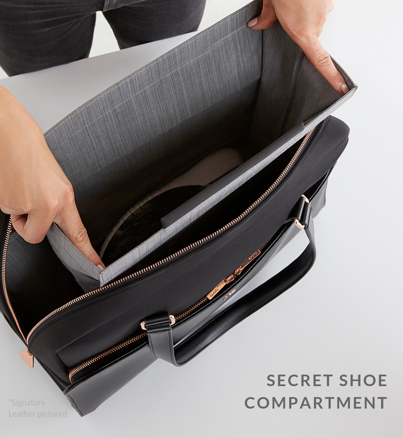 Women holding open separate shoe compartment of black Sparro Designs carry-all
