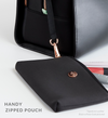 Black removable zip pouch attached to stylish work and gym bag