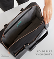 Stylish work and gym carry-all open with internal pockets visible