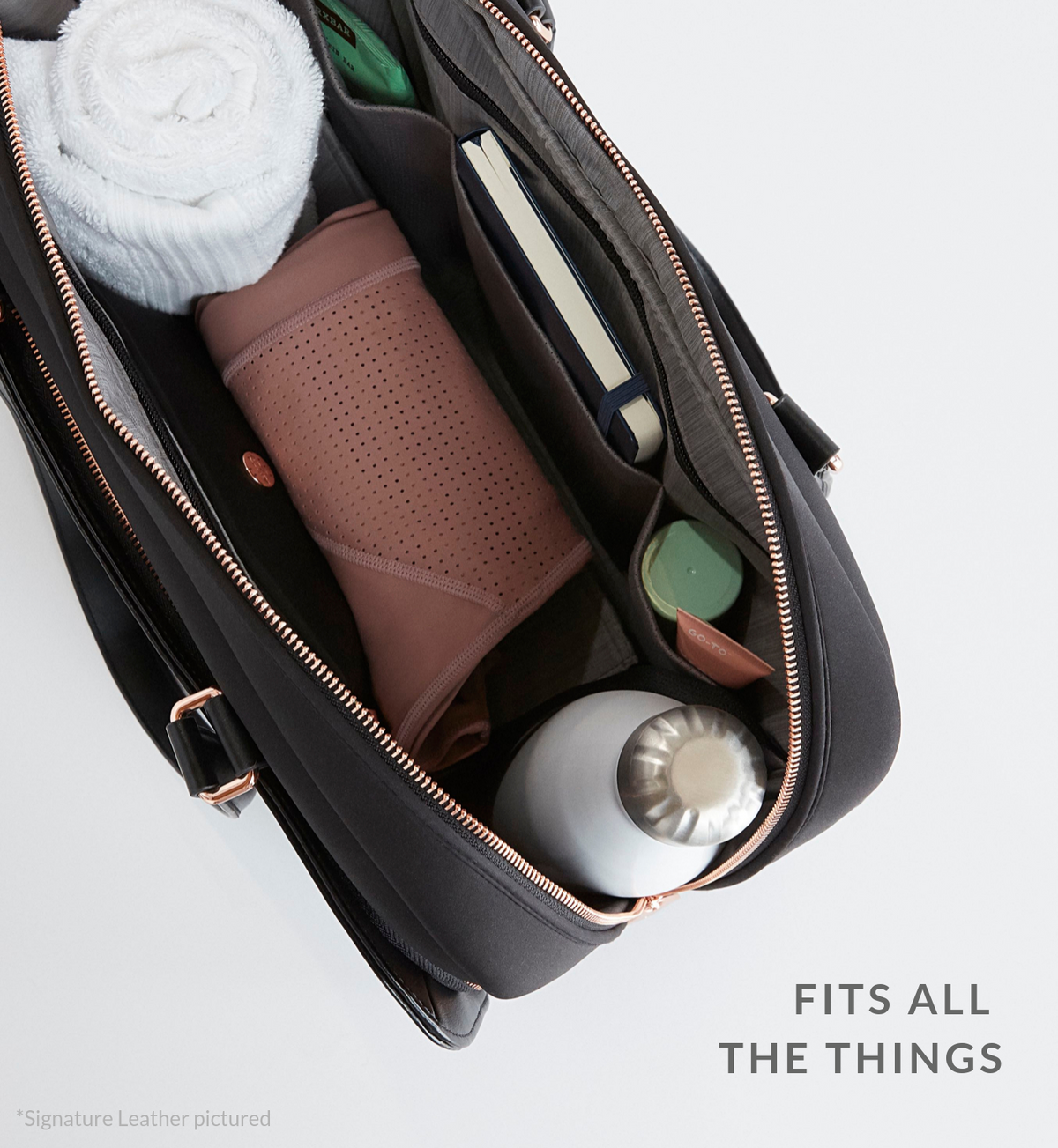 Luxe black work and gym carry-all open and filled with daily #LifeInBag essentials