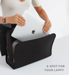 Stylish woman placing laptop into black Sparro Designs work and gym tote