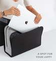 Woman placing computer into stylish grey and black neoprene work tote