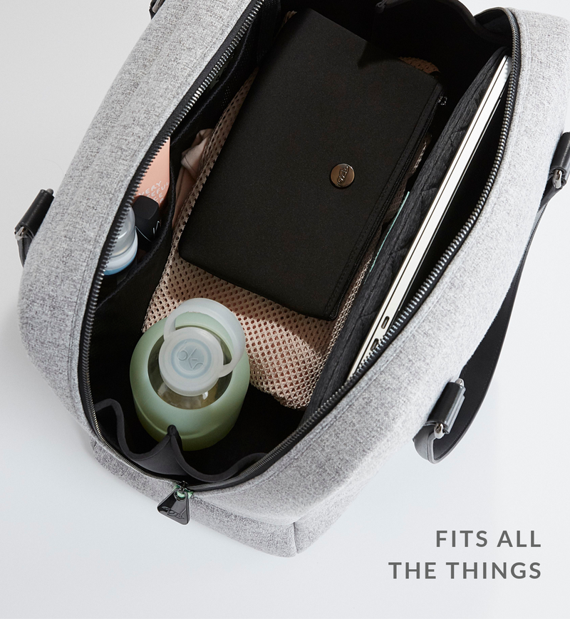 Open stylish Sparro Designs grey and black work + gym tote filled with daily #LifeInBag essentials