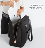 Stylish Woman placing laptop into luxe Sparro Designs work and gym carry-all