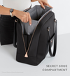 Luxe black work and gym bag with open separate shoe compartment