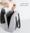 Laptop being placed into stylish Sparro Designs grey + black work bag separate laptop pocket