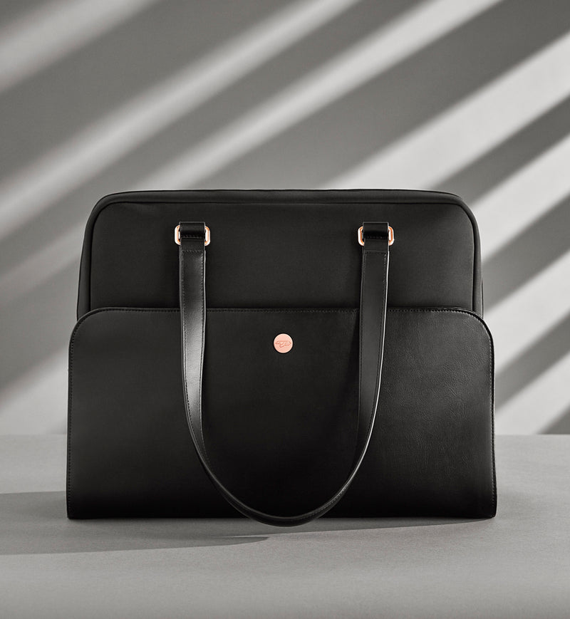 Women's Black and Rose Gold Laptop and Gym Bag