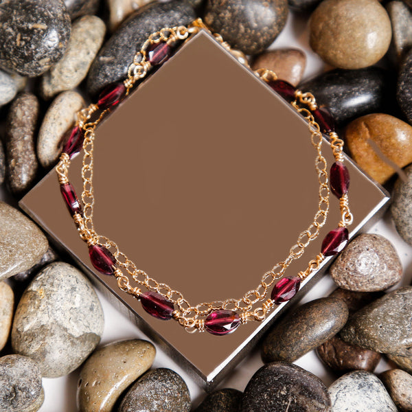 Garnet Gold Filled Double Chain Bracelet