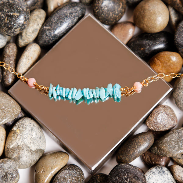 Turquoise and Pink Opal Gold Filled Chain Bar Necklace