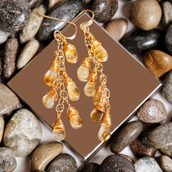 Citrine Gold Filled Wire Wrapped Dangle Earrings