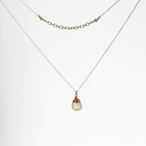 Golden Rutilazed Quartz Wire Wrapped Gold Filled Chain Double Necklace