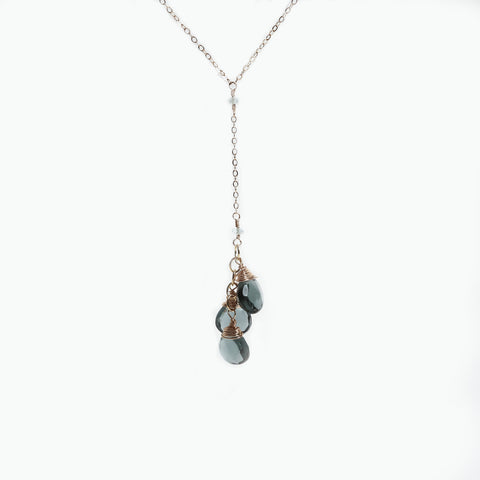 Aquamarine and Blue Quartz Wire Wrapped Gold Filled Y Necklace