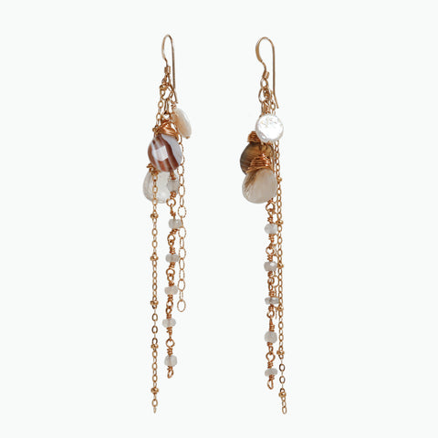 Botswana Agate and Rutilated Quartz Wire Wrapped Gold Filled Dangle Earrings