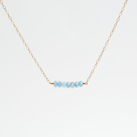 Sea Blue Quartz, and Pearl Gold Filled Chain Bar Necklace
