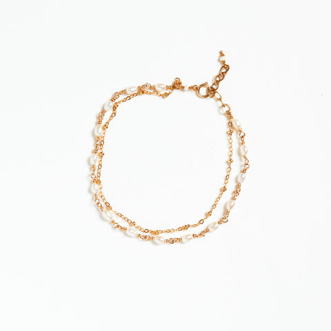 Freshwater Pearl Gold Filled Beaded Double Chain Simple Bracelet