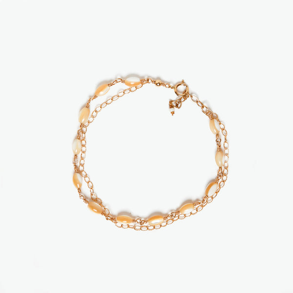 Mother of Pearl Gold Filled Double Chain Bracelet