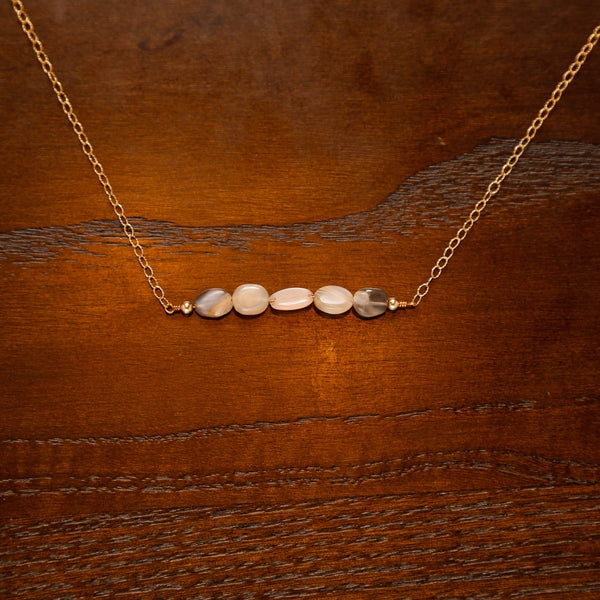 Moonstone and Pearl Gold Filled Chain Bar Necklace