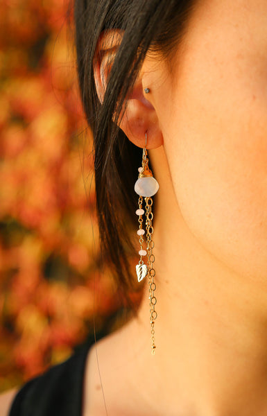 Chalcedony and Gold Filled Leaf Charm Glass Bead Gold Filled Chain Dangle Earrings