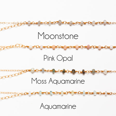Customizable Gemstone Stone of Choice Gold Filled Double Chain Necklace