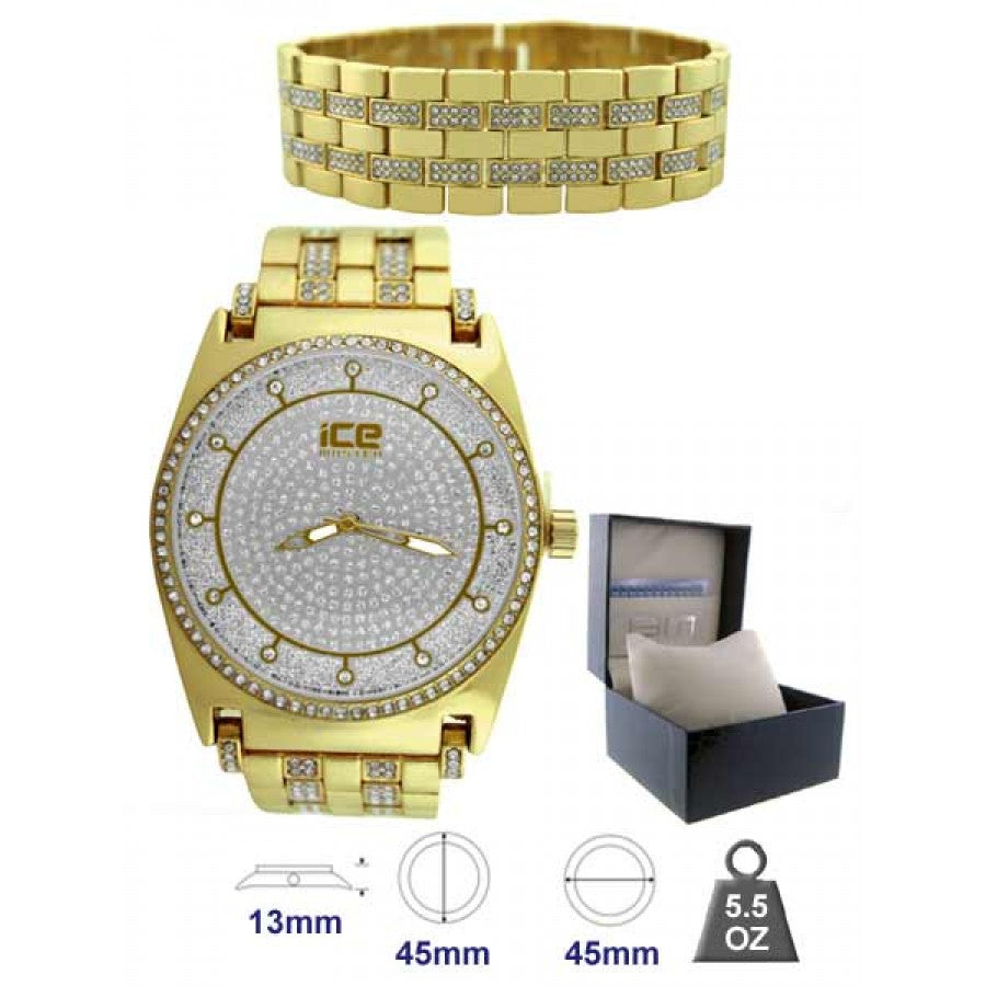 Orbit Silver dial Gold watch set