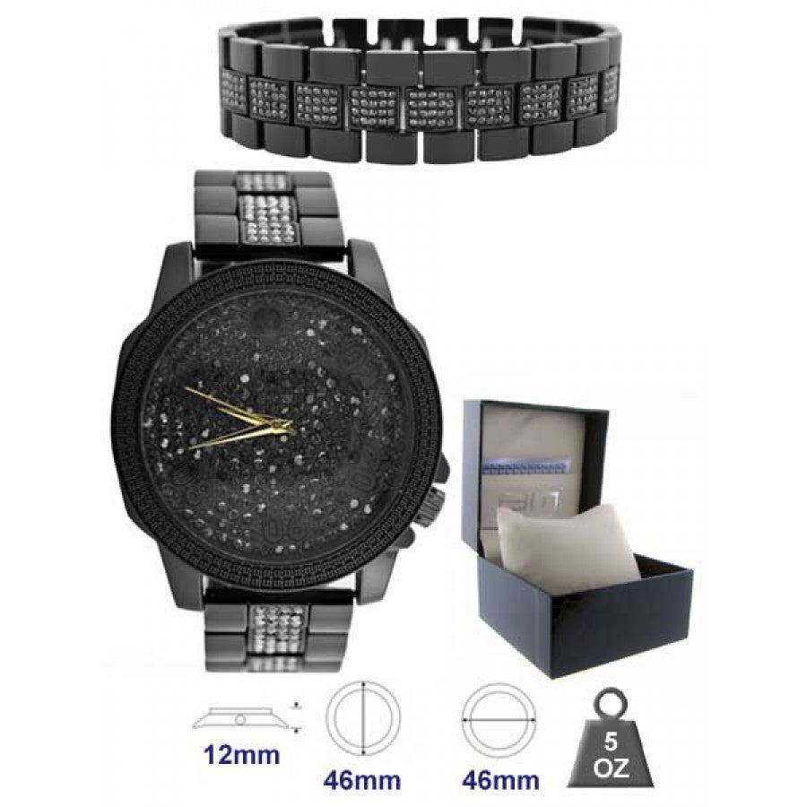 Metal Band Watch and Bracelet Set for Men