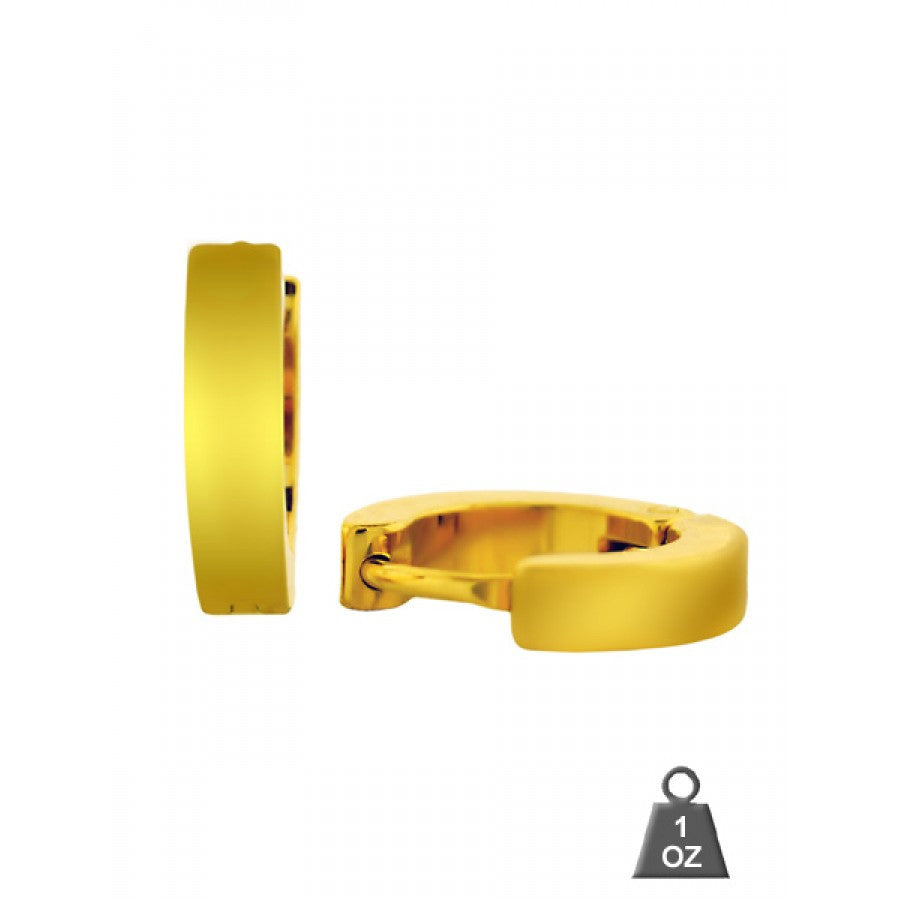 Steel Gold Huggie Plain