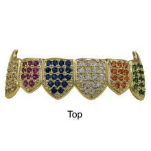 Rainbow Color Fully Iced Out Micro pave Hip Hop Grillz