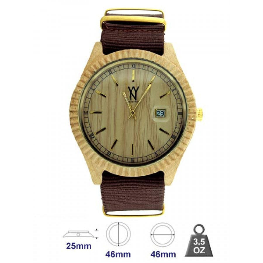 Brown Resin strap Fluted Bezel Wood Watch