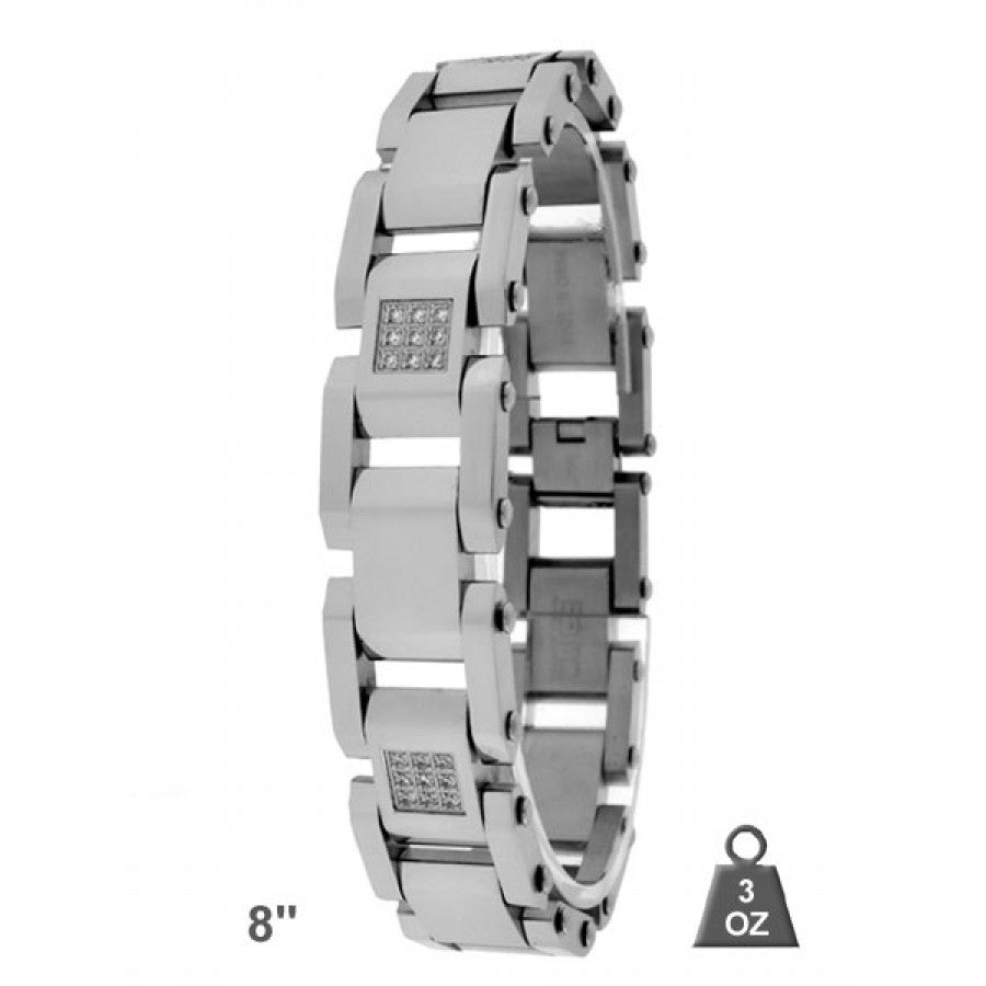 Stainless steel bracelet with CZ. 4115-A