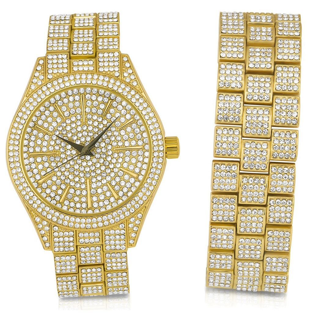 Bling Metal Band Watch and Bracelet Set-530252