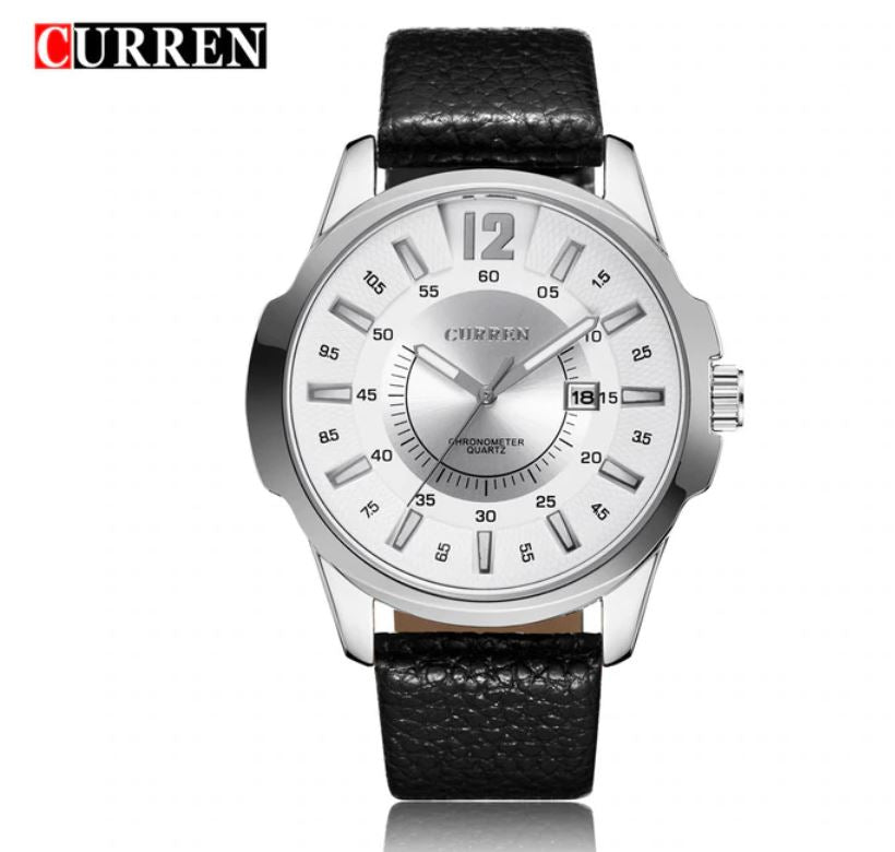 Curren REGIMENT Silver Case Black Strap Classic Fashion Watch | 540191