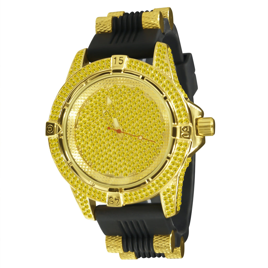 Iced out hip hop, bullet  jelly band mens fashion watches