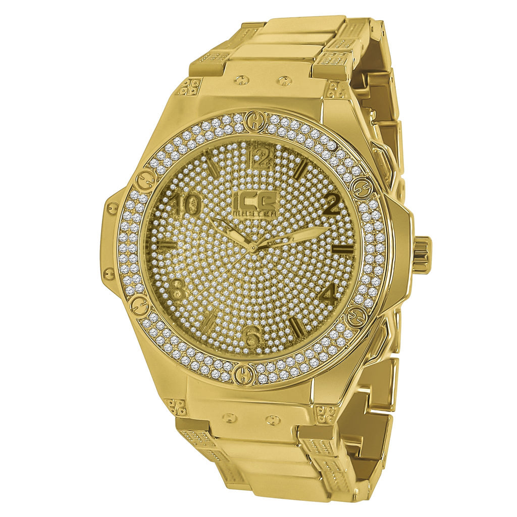 HUB Ice Master Black Pave Dial Gold CZ Watch | 562312