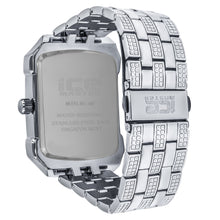 Icemaster Mens Silver on Silver Dial Crystal 2Row Bezel Rectangle faced watch