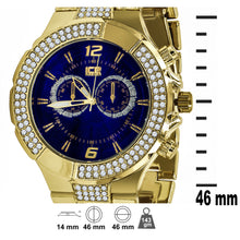 Yellow Gold 2 Row Navy Dial Iced out Bling Metal
