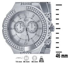 Silver 2 Row Silver Dial Iced out Bling Metal Watch