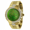Yellow 2 Row Green Dial Iced out Bling Metal