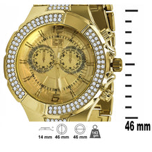 Yellow Gold 2 Row Gold Dial Iced out Bling Metal
